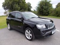2013 13 JEEP COMPASS 2.2 CRD LIMITED 4X4 SUV IN METALLIC BLACK WITH FULL BLACK LEATHER