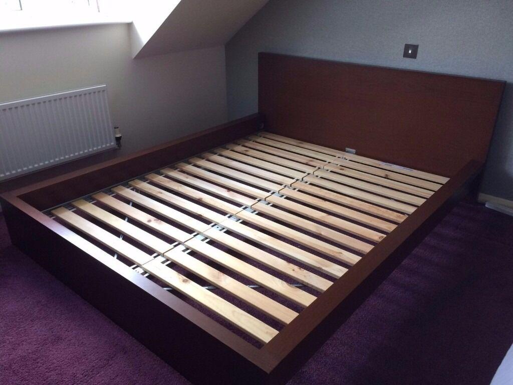 Ikea Malm King Size Bed Frame No Mattress Dark Brown Good Condition