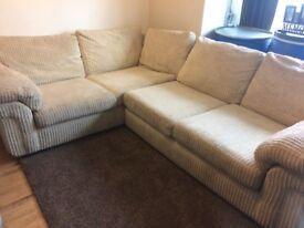 Large cream fabric corner sofa