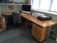 Large, solid-wood corner desk & drawer unit