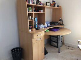 computer desk and integral shelving unit
