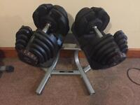 Adjustable Dumbbells 5kg - 40kg free weights with stand
