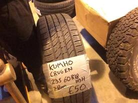 ONE 235 60 18 103H KUMHO CRUGEN WITH 7-8MM TREAD.