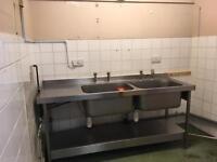 Industrial double sink drainer