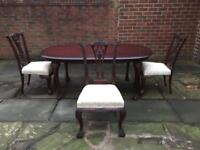 Antique Style Mahogany Wooden Dining Table & 6 Upholstered Chairs RRP £1,000