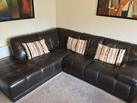 Verona Brown Corner Leather Sofa with leather storage foot stool - EXCELLENT CONDITION