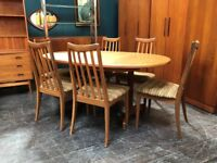 Oval Extending Dining Table & 6 Chairs by G Plan. Retro Vintage Mid Century