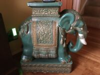 Large Ceramic Indian Elephant, side table or stool
