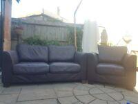 Sofa + 2 armchairs set, dark brown REAL LEATHER