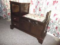Solid Oak Carved Telephone Table - vgc