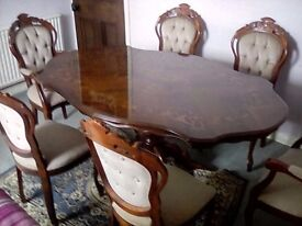 Bespoke Dining table with six chairs