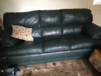 Leather 3 seat sofa and 2 chairs