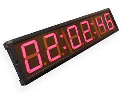 EU 4 6digits LED Countdown Clock Clock Red Color Hours Minutes Seconds