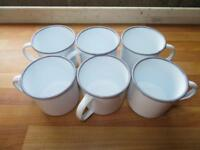Six enamel mugs