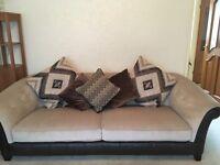3 piece brown & cream sofas leather & suede