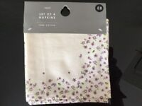 Next Mauve Floral Napkins New Set of 4 100% cotton machine washable