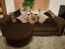 Brown chaise corner sofa