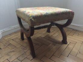 Antique Vintage Wooden Tapestry Footstool