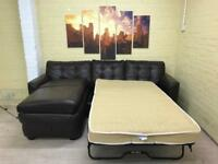 Brown Leather Corner Sofa Bed With Storage