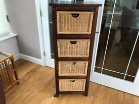 Solid wood unit with wicker baskets