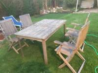 Hardwood garden table and chairs