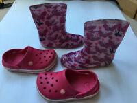 Girls Pink Crocs + Wellies (size 1-2) – Brockley, London SE4