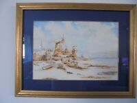 Framed painting original watercolour windmills