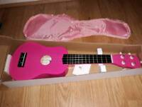 Sue Ryder Glittery Pink Ukelele and carry case