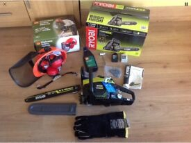 Ryobi chainsaw Rcs3835t with safety helmet, Briers gauntlets and extra oil