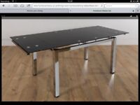 NEW BOXED SPACE BLACK TEMPERED GLASS & CHROME DINING TABLE & GREY LEATHER CHAIRS