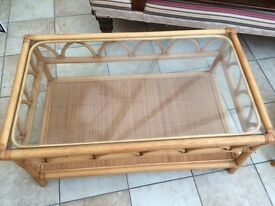 Rectangular and Square Glass Topped Bamboo Tables