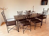 Beautiful, Immaculate Black and Gold Designer Dining Room Suite. Iron Design Co.