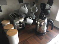 Kitchen utensils set, various items, inc kettle, toaster, bread bin, mugs, mug tree etc