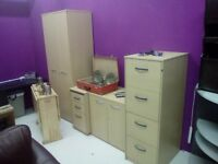 4pcs office furniture set job lot filing cabinets drawers