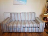 Ikea 2 seater kivik sofa covered in custom made striped fabric