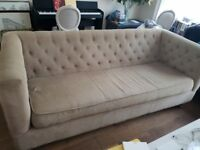 India Jane Large beige brown sofa button back