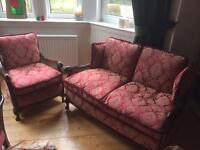 Vintage Bergere 2-seater sofa and chair