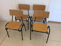 Four retro industrial mid century Remploy of Stafford stackable chairs