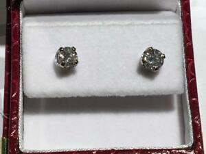 #1613 14K BEAUTIFUL BRAND NEW WHITE GOLD EARRINGS 1/2 CT EACH TOTALING 1CT!! APPRAISED FOR $7550.00!! SELLING FOR $2295!