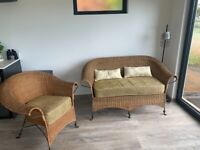 2 seater rattan sofa and matching chair