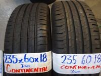 MATCHING PAIR 235 60 18 contisports 7mm TREAD £80 PAIR SUP & fittd 7dys (punct £8) opn sunday 4pm