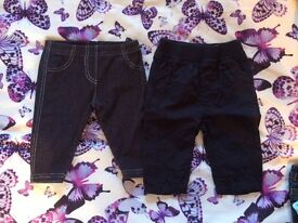 Two Baby Trousers - Age 0-3m