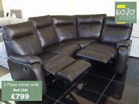Designer leather brown 3 piece corner sofa (32) £799