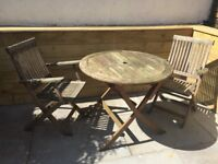 Wooden folding garden furniture table & four chairs