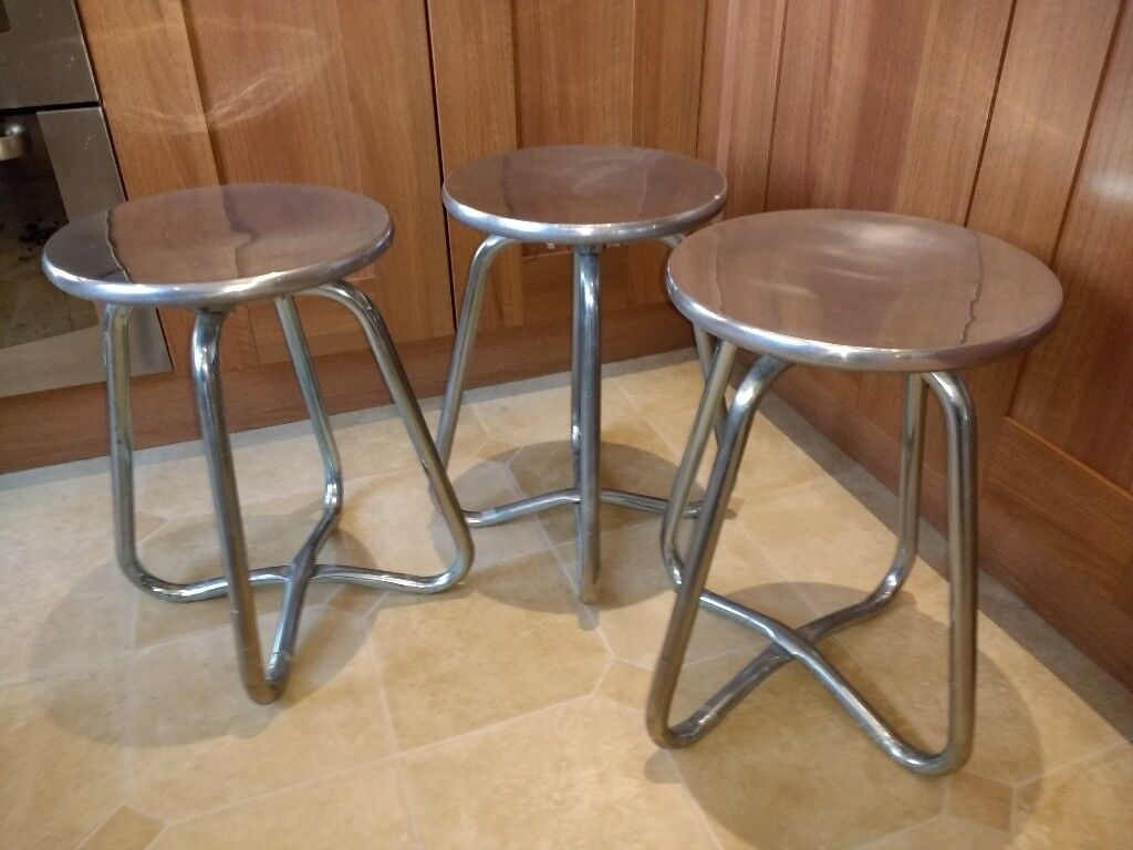 Solid metal stools (x3)