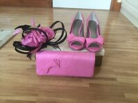 Jacques Vert Shoes size 7, Bag & Fascinator, pink