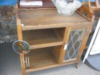 VINTAGE ORNATE 'OLD CHARM' OAK TEA TROLLEY. MANY FEATURES