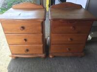 Pair of pine bed side draws
