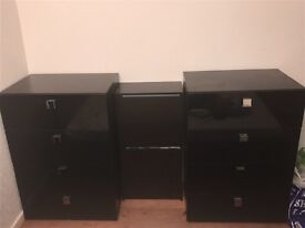 Two Glossy Black chest of drawers with charcoal Black shoe cabinet