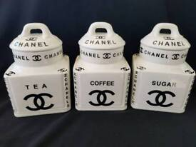 Chanel no5 tea coffe suger set made from porcelain white